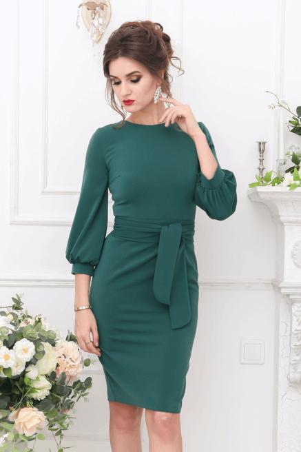Изумрудное Платье С Рукавами